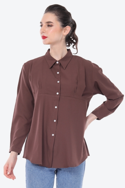 Emma Shirt Plain In Dark Brown