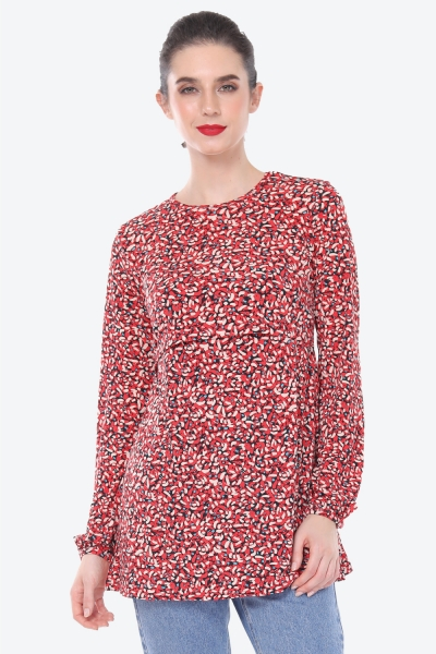 Julia Blouse Printed In Candy Red