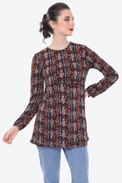 Julia Blouse Printed In Flower Black